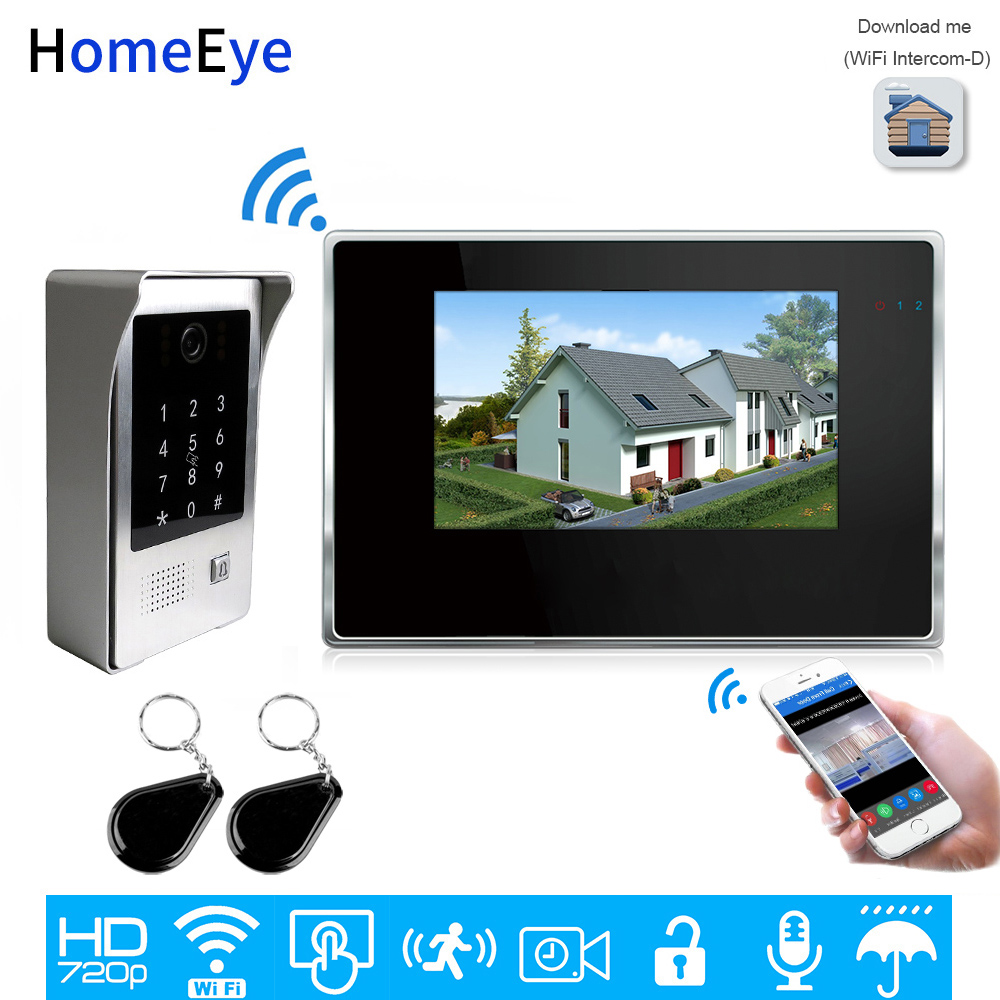720P WiFi Video Intercom System IP Video Door Phone 7'' Touch Screen Mobile App Remote Unlock Code Keypad+IC Card Access Control