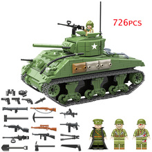 726PCS Military US Sherman M4 Tank Building Blocks legoing WW2 Military Tank Army Soldiers Figures Helmet Weapon parts Bricks стоимость
