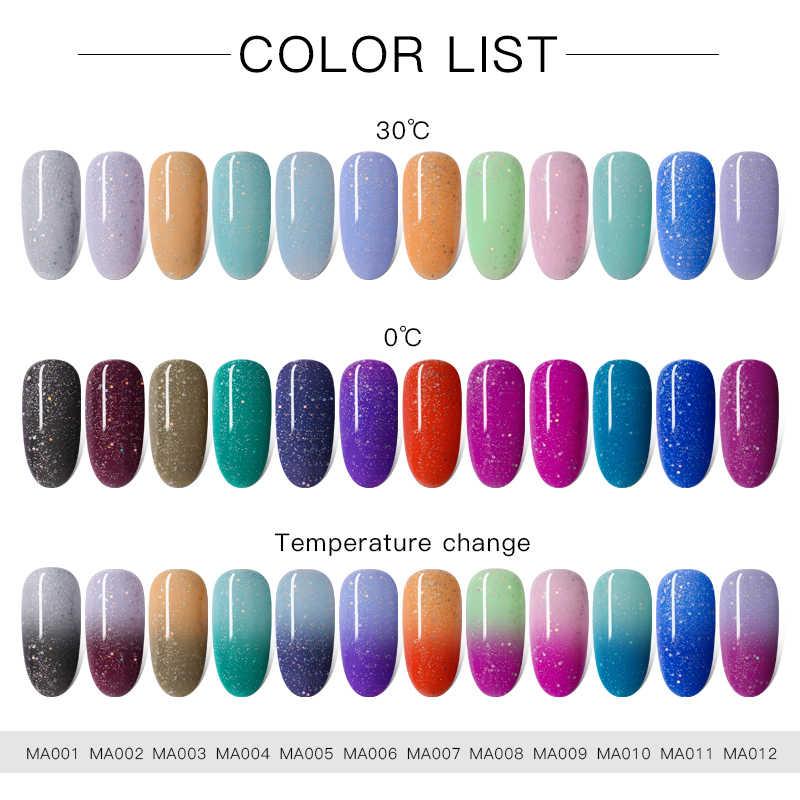 Encuentra a través de 8ml de Gel térmico ultrafina brillante esmalte de temperatura que cambia de Color UV Gel barniz remojo del esmalte para decoración de uñas