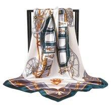 Printemps новый стиль шелк 90*90 см Хиджаб Женский платок Роскошный 100% шелк пареодляжа платок режима