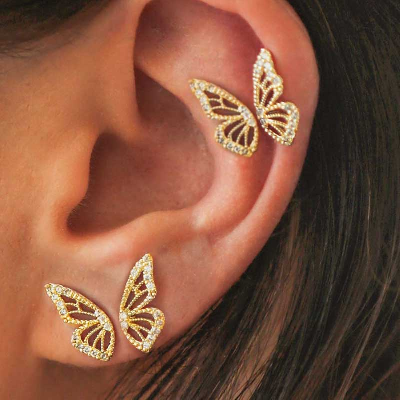 2020 New Gold Silver Rose Gold Color Rhinestone Butterfly Wing Stud Earrings For Women Cute Small Crystal Stud Earring