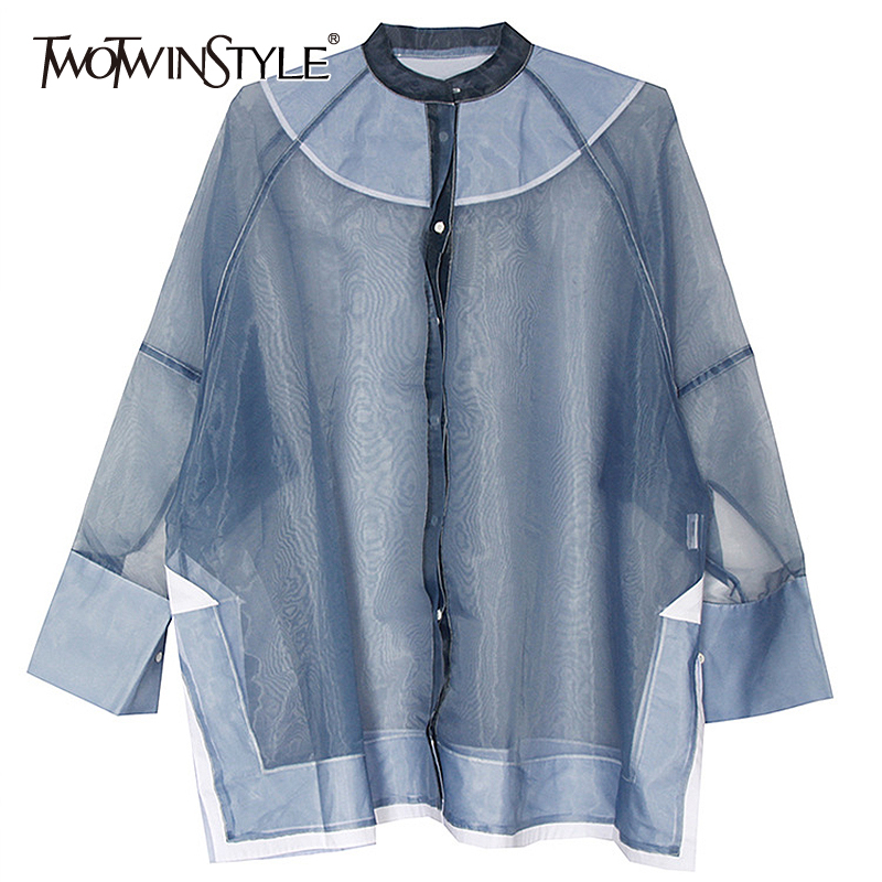 TWOTWINSTYLE Patchwork Mesh Chiffon Women's Shirts O Neck Long Sleeve Perspective Oversized Shirt Female Spring Fashion New 2020