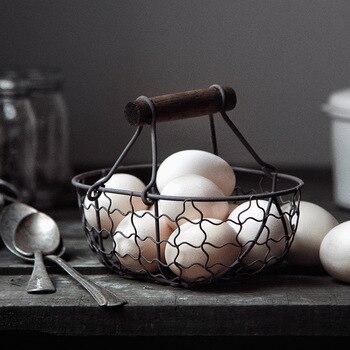 木製ハンドル金属レトロバスケットポータブル多機能野菜果物卵食料品な収納バスケットオーガナイザー