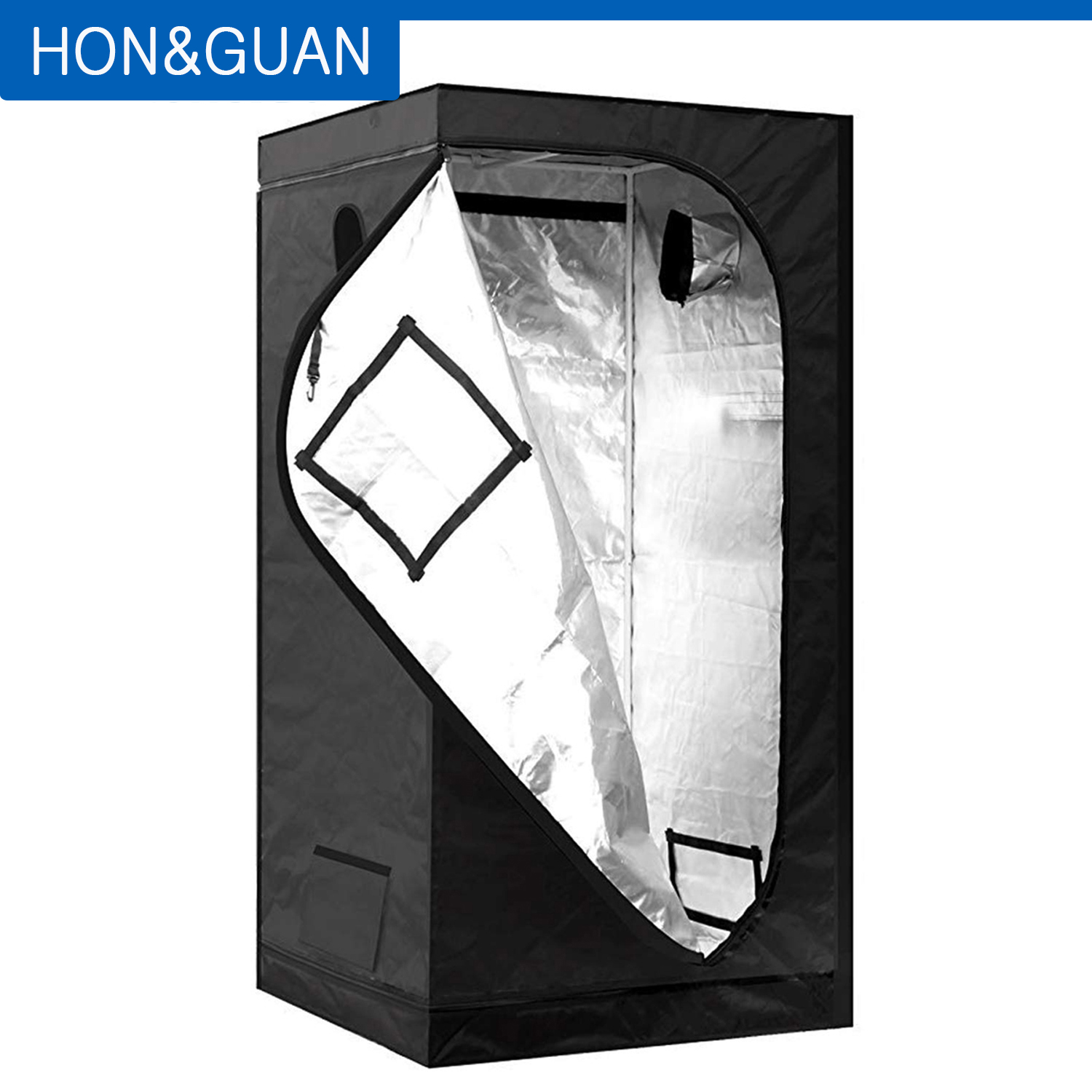 Hon&Guan 120*120*200cm Growing Tent Reflective Silver Water-Proof Mylar Hydroponic Plant Grow for Indoor Gardening