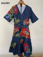 2020 Spring Fashion Denim Dress High Quality Women V Neck Floral Embroidery Short Sleeve Knee Length Blue Jeans Dress Girls