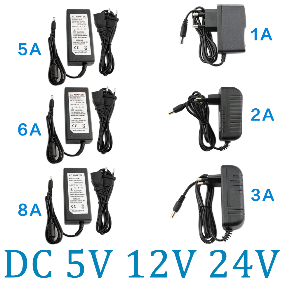 DC 5V 12V Power Supply Adapter 24V 1A 2A 3A <font><b>5A</b></font> 6A 8A AC DC Transformers 220V To 12V 5V 24V Power Supply Adapter <font><b>5</b></font> 12 24 <font><b>V</b></font> Volt image