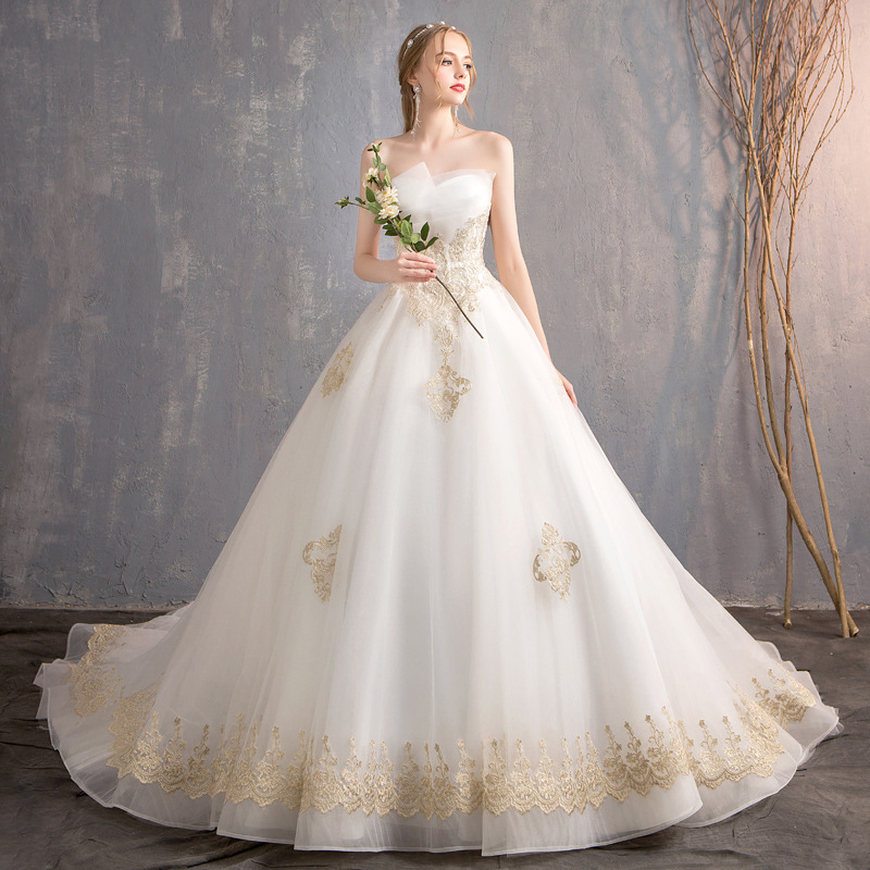 Wedding Dress Elegant Strapless Dress Luxury Sweep Train Classic Bridal Ball Gown Princess Wedding Gowns Vestido De Noiva