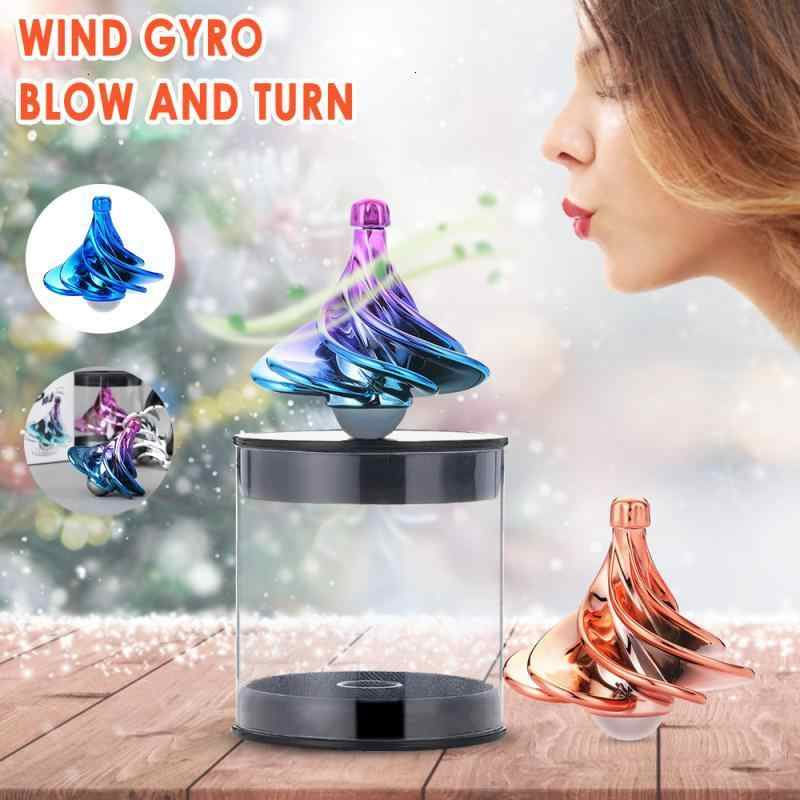 Rotating gyro Portable Wind gyro Desktop Decompression Toy HXH Wind gyro Suitable for Children//Adults