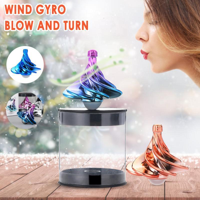 Gyro Toy Desktop Decompression Gyro Educational Toys Controlled By Wind Gyro Decompression Gyro Children Day's Gift Surprise Box