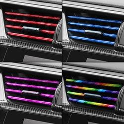 10 Pieces Car-styling Chrome Styling Moulding Car Air Vent Trim Strip Air Conditioner Outlet Grille Decoration U Shape
