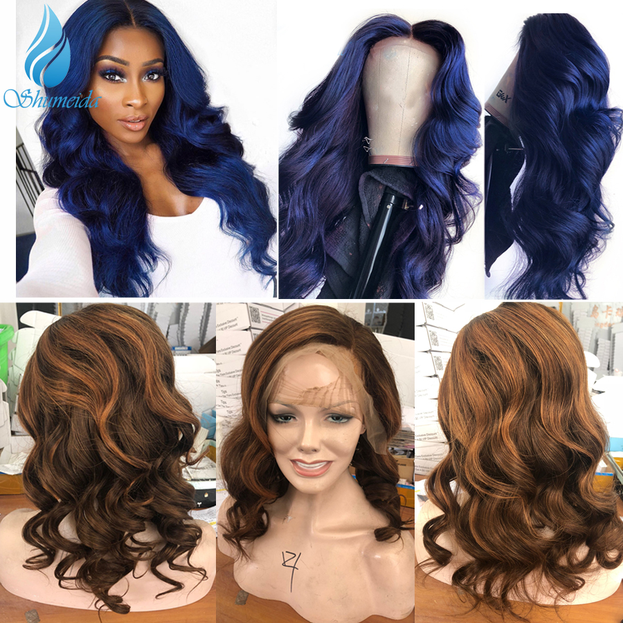 Blue Color 13*6 Lace Front Wigs With Pre Plucked Hairline Brazilian Remy Hair Body Wave Lace Front Human Hair Wig With Baby Hair