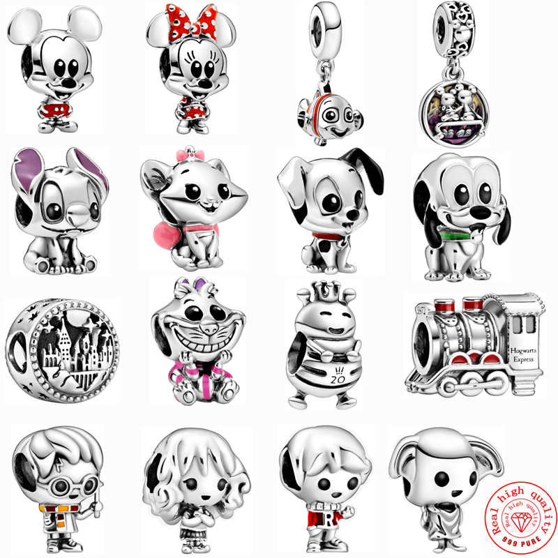 Neue Silber Farbe Harry Zug Pluto Lilo & Stich Fit Pandora Armband 101 Dalmatiner Patch Charms DIY Mickey Minnie Perlen schmuck image