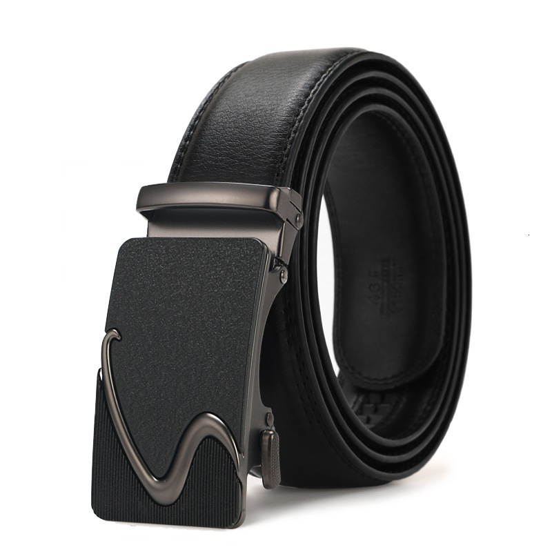 Peikong Men's Belt Cow Mens Fabric Leather Belts Brand Fashion Automatic Buckle Black Genuine Leather Belts For Men 3.5cm Width