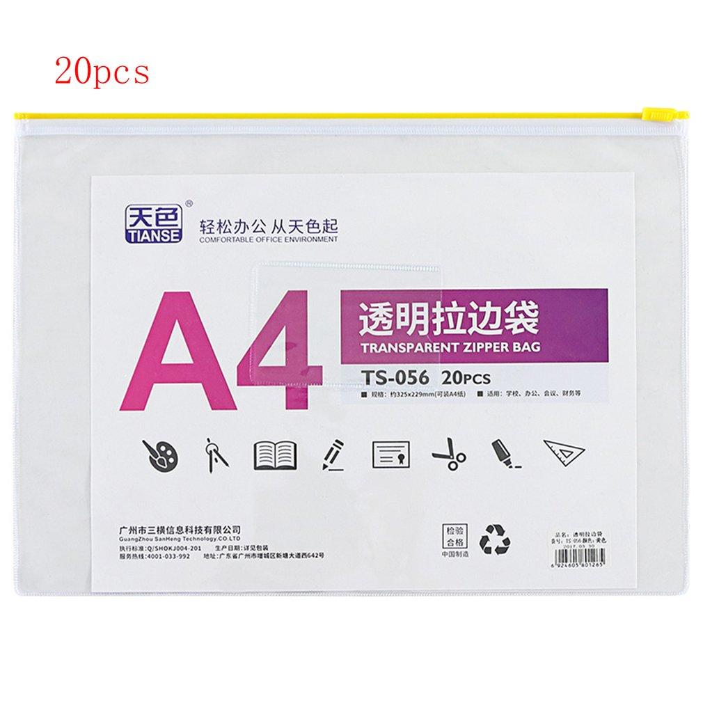 TIANSE 20pcs/Set Transparent High Quality PVC Plastic Zipper Stationery Bag A4 Office & School Supplies TS-056