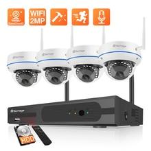 Techage 4CH 1080P Wireless NVR CCTV Surveillance Set Security IP Camera System 2MP Wifi Audio Sound CCTV Dome Indoor Camera