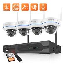 Techage 4CH 1080P bezprzewodowy zestaw nadzoru NVR CCTV System kamer IP 2MP dźwięk Wifi dźwięk CCTV Dome kamera wewnętrzna
