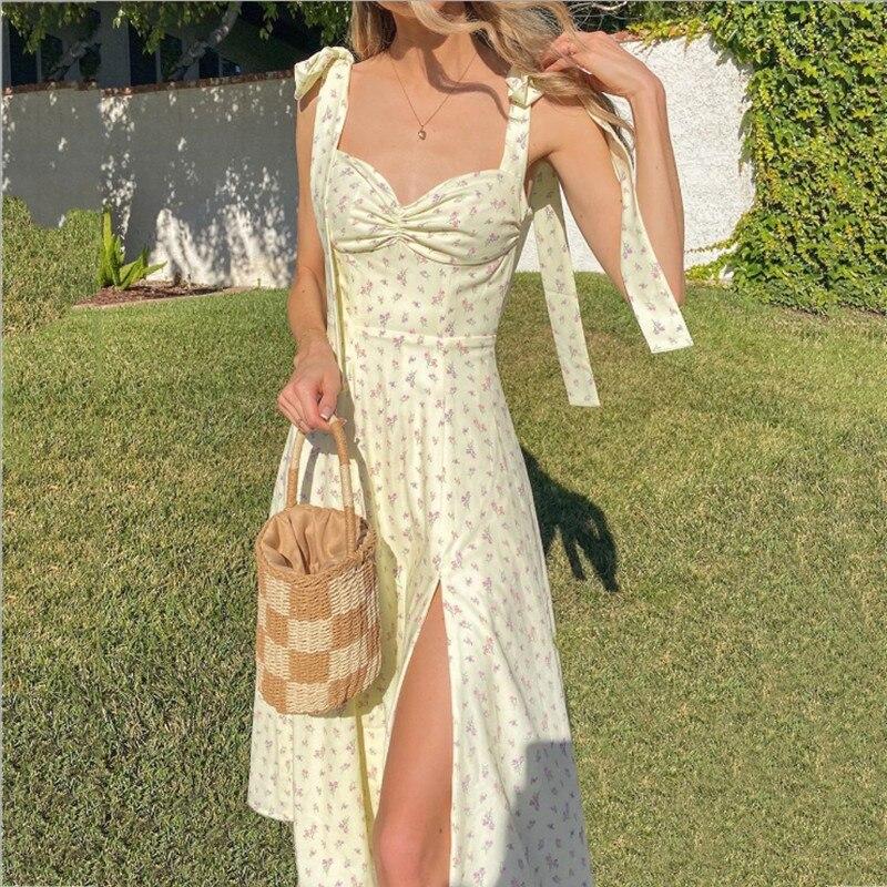 Bola 2021 Floral Print Cottagecore Sleeveless Strap Midi Dresses Party Club Sexy Backless Elegant Split Dress Women Vestidos New