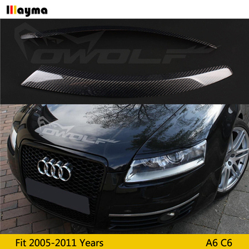 Carbon Fiber Car Headlight Eyebrow Cover Trim Sticker Head Lamp Eyelid for Audi A6 C6 2005 2006 2007 2008 2009 2010 2011 year black auto front bumper driving fog lights cover lamp frame trim for audi a6 c6 2009 2011