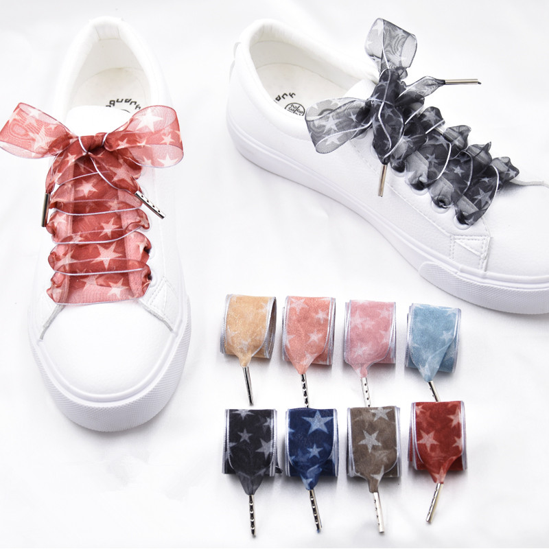 2.5 Cm Wide Star Printing Organza Shoelaces Transparent Chiffon Lace Flat Silk Large Bow Wide Leisure Sports Shoes Lace Dropship