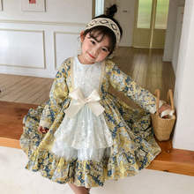Boutique Spain Girls Dress Royal Costumes Kids Princess Wedding Birthday Dress Party Lace Bow Robe Fille Baby Christmas Clothing 6p510 wholesale baby kids boutique clothing lots