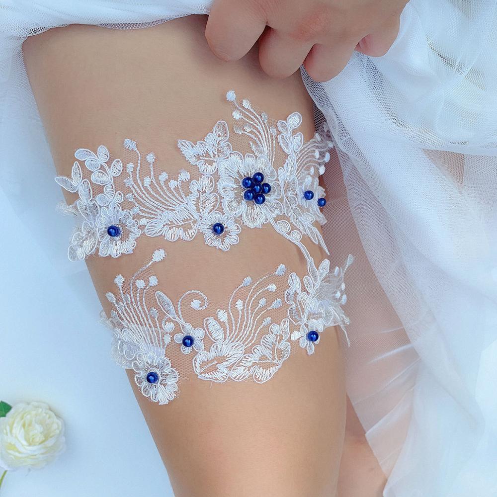 Flower Beading Embroidery Wedding Garter Ivory Sexy Garters For Women Female Bride Thigh Ring Bridal Leg Garter