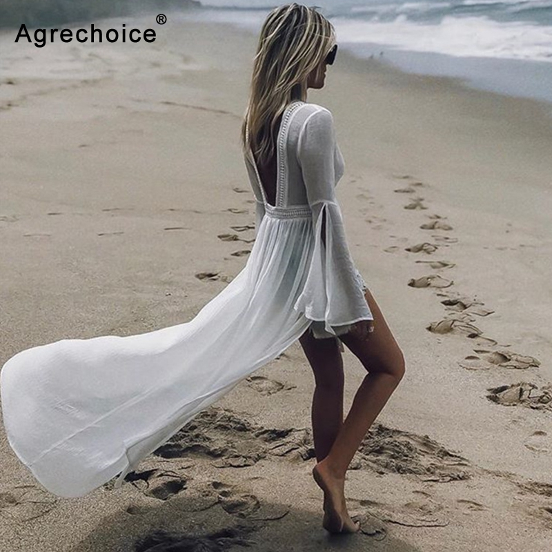2019 Sexy Crochet Hollow Beach Cover Up Long Beach Dress Tunics Women Bikini Swimwear Cover Ups Deep V Backless Dress Beachwear
