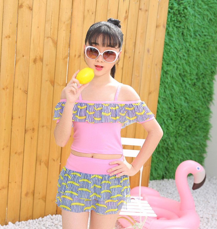 KID'S Swimwear Girls Korean-style Split Skirt-Cute Tour Bathing Suit GIRL'S Students Bubble Hot Spring Swimwear 10-15-Year-Old