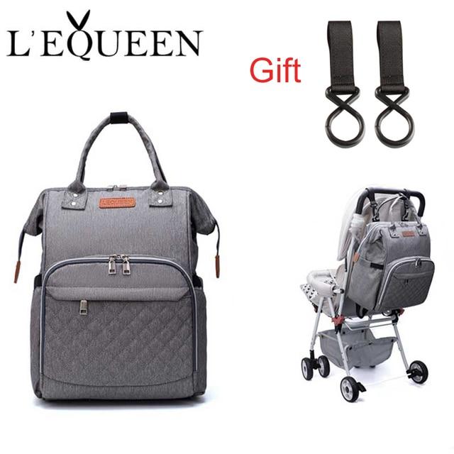 Lequeen Fashion Mummy Maternityกระเป๋าผ้าอ้อมเด็กกระเป๋าเดินทางกระเป๋าเป้สะพายหลังDesigner Nursing Bag For Baby Care