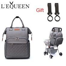 Lequeen Mode Mumie Mutterschaft Windel Tasche Marke Große Kapazität Baby Tasche Reise Rucksack Designer Pflege Tasche für Baby Pflege