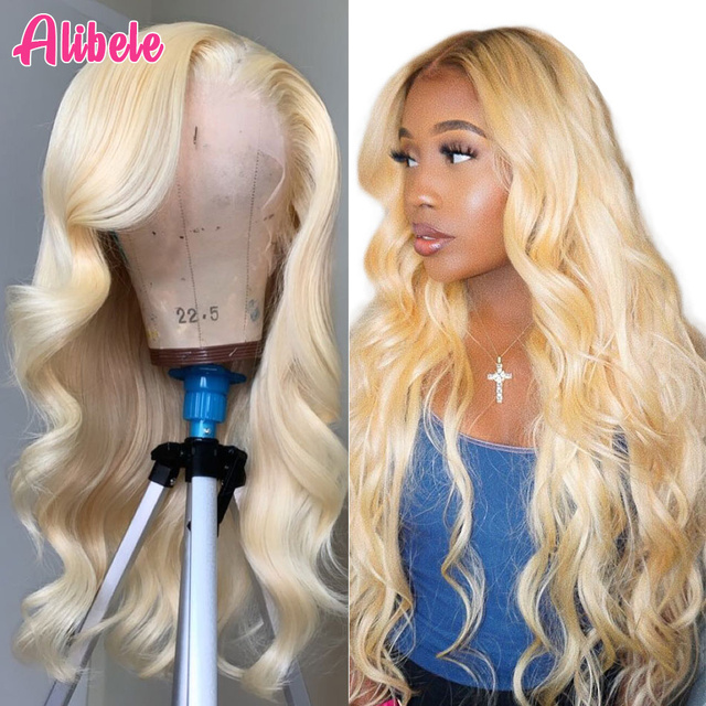613 dantel ön peruk brezilyalı vücut dalga şeffaf dantel peruk 10 26 inç rus platin bal sarı insan saçı peruk 13x 4/6 inç