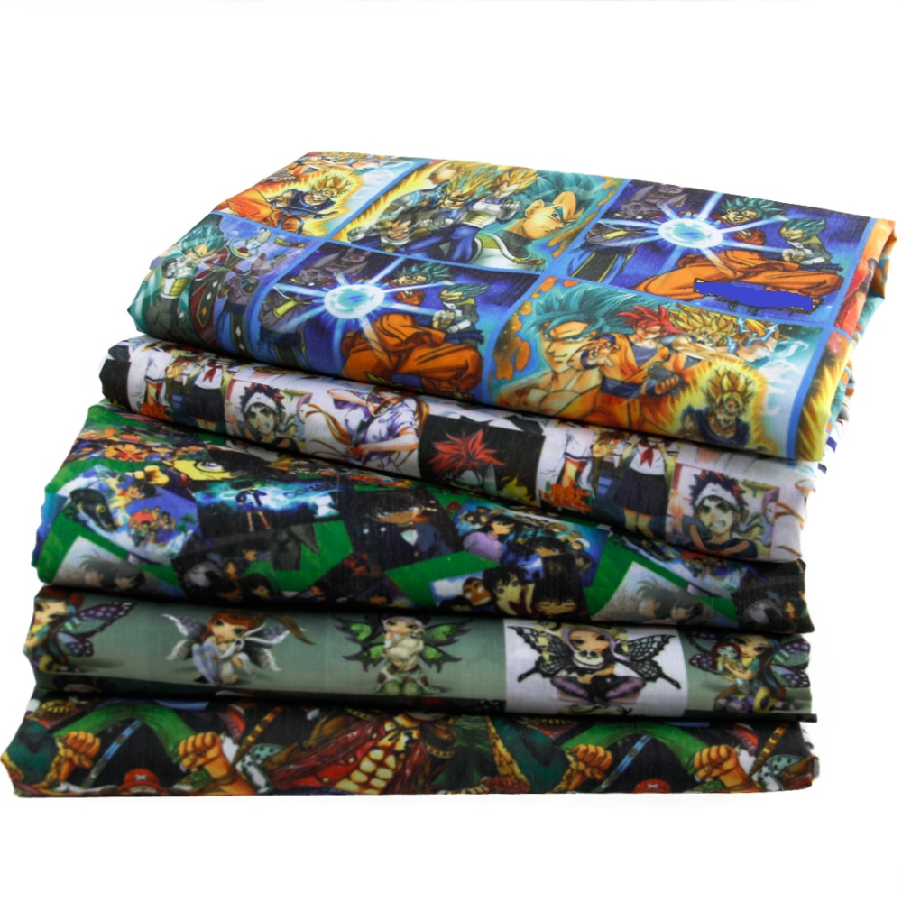 50*140CM Cartoon Printed Polyester Cotton Fabric for Tissue Kids Bedding Home Textile for Sewing Doll Fabric for Needlework,c422(China)