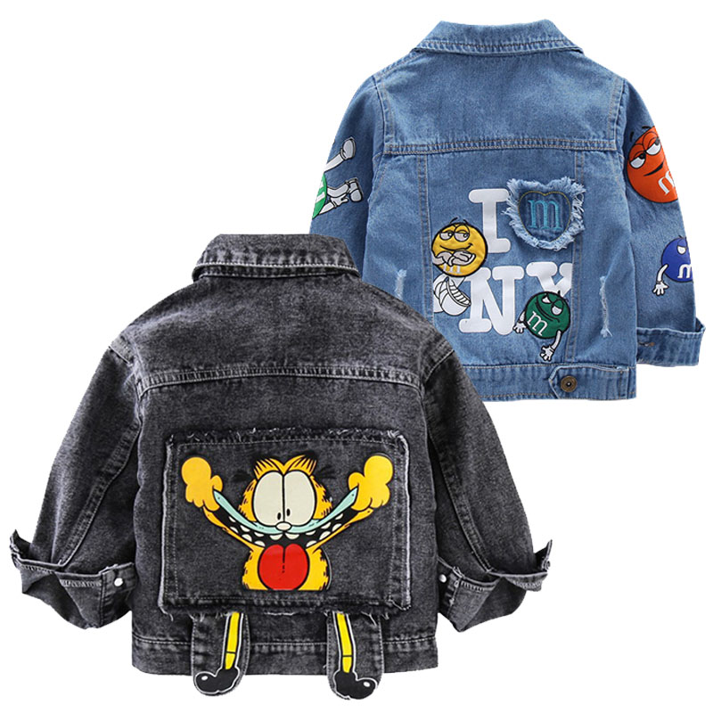 Baby Boys Garfield Denim Jacket 2020 Spring Autumn Jackets Kids Cartoon Outerwear Coats For Boys Clothes Children Jacket 2-7 Yrs