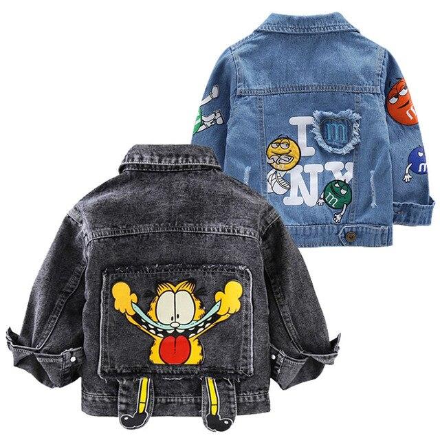 תינוק בני גארפילד ג ינס מעיל 2020 אביב סתיו מעילי ילדים קריקטורה הלבשה עליונה מעילי בני בגדי ילדי מעיל 2 7 Yrs
