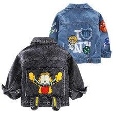 Bebek erkek Garfield Denim ceket 2020 bahar sonbahar ceketler çocuklar karikatür giyim mont erkek giysileri için çocuk ceket 2 7 yıl