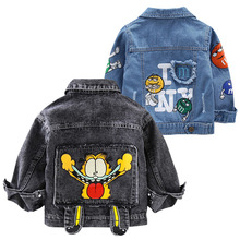Boys Baby Garfield Denim Jacket 2020 wiosenne i jesienne kurtki dla dzieci Cartoon odzież wierzchnia płaszcze dla chłopców odzież kurtka dla dzieci 2 7 lat