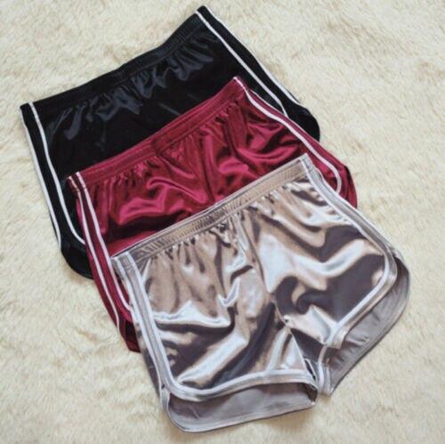 Womens Summer Casual Beach Slim Ladies Striped Satin Silk High Waist Waistband Shorts Black Silver Wine Red Shorts