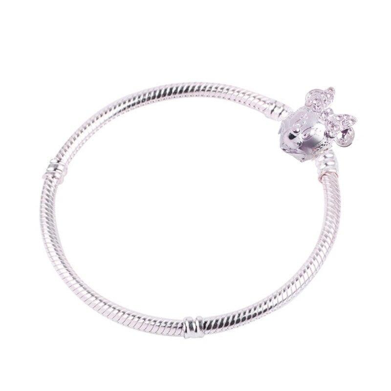 Новинка, браслет с подвеской из розового золота с Микки-Маусом, цепочка со змеей, подходит для Pan, базовые браслеты для модных женщин, бусины, сделай сам, ювелирное изделие - Окраска металла: NSL013-Minnie