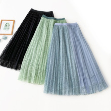 Wasteheart Autumn Green Blue Women Skirt A-Line Casual Lace Ankle-Length Long Skirts Mesh Sweet Sexy Pleated
