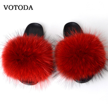 Fluffy Real Fox Fur Slides Women Fur Slippers Winter Furry Fur Sandals Falt Indoor Slippers Ladies Plush Shoes Fuzzy Flip Flops couple slippers fur slides for men women indoor slippers female winter plush insole rubber sole comfort cotton shoes flip flops