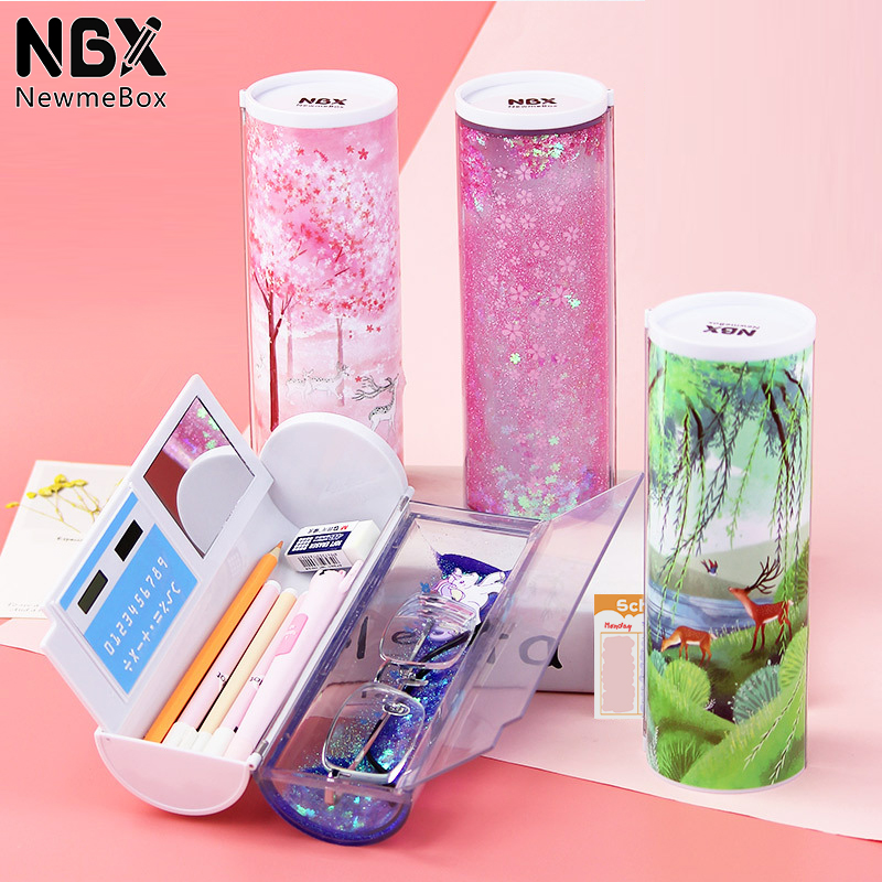 NBX  Multifunctional Pencil Box Large Capacity Pencil Cases Quicksand Translucent Creative Cylindrical Pen Holder Kid Stationery