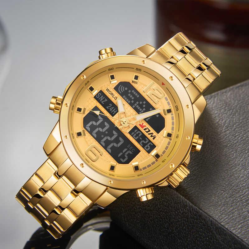 Reloj KDM para hombre Reloj de pulsera de cuarzo Digital informal de negocios LCD de lujo de oro de acero inoxidable Reloj deportivo impermeable Reloj Masculino