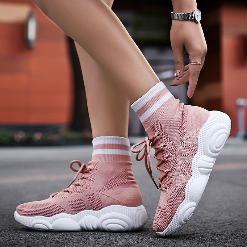 Women Sock Sneakers 2019 New Sport Running Shoes Top Quality Light Trainers Comfortable Soft Pink Girl Zapatillas Deporte Mujer
