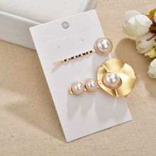 Gariton Korea New Women Metal Hairpins Imitation Pearl  Beads Hair Clips Irregular Geometric Styling Accessories