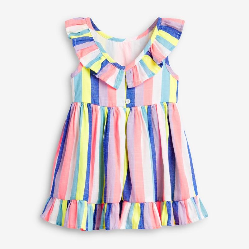 Little maven 2021 Dress Rainbow Colorful Girls Party Dresses for Kids Clothes Cotton Little Toddler Princess Dresses Vestido 2