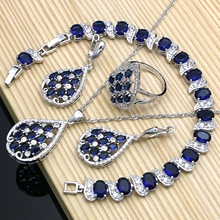 цена на Graceful Silver Color  Bridal Jewelry Sets Blue CZ Stone White Crystal Bracelet Necklace Set for Women Party Dropshipping