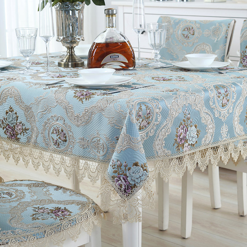 Luxury Lace Edge Tablecloth Delicate Embroidery Table Cloth Home Restaurant Decoration Table Cover manteles de mesa rectangular image