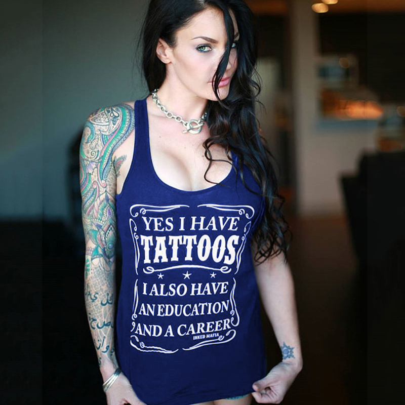 Yes I Have A Tattoos 2020 New Letter Printed Tanks Top For Women Summer Sleeveless Tshirt Female Gothic Casual Top