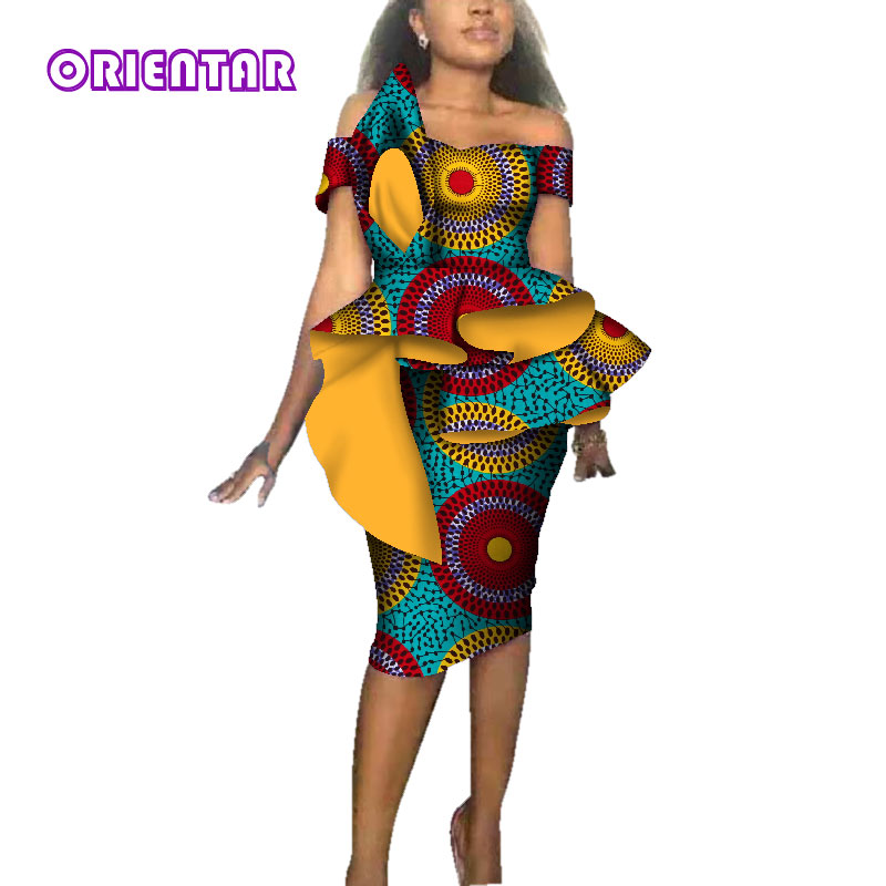 Mode Afrikaanse Jurken Voor Vrouwen Party Wedding Afrika Wax Print Bazin Riche Jurk Vrouwen Sexy Slash Hals Midi Jurk WY3689