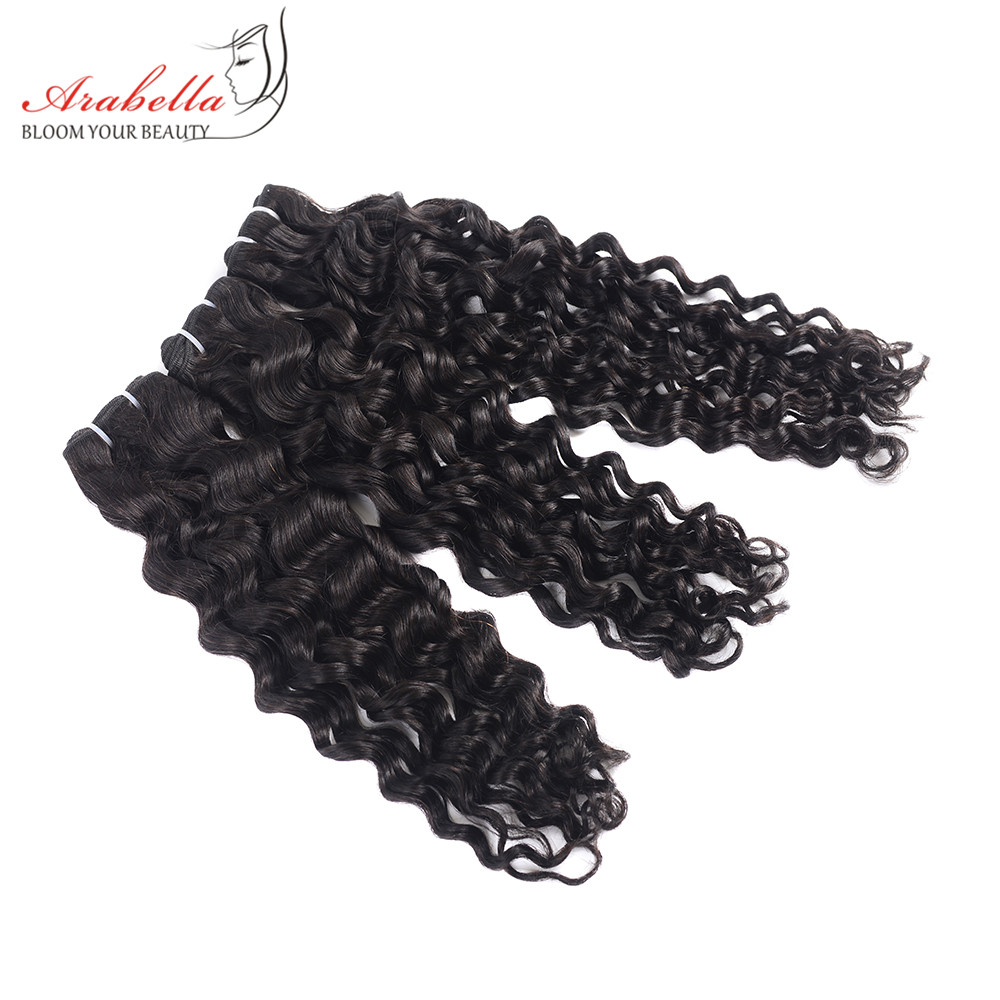 Super Double Drawn Water Wave Hair Bundles With Closure Pre Plucked Bleached Knots Arabella Virgin Hair  Bundles 2