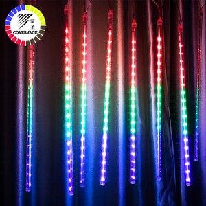 Image 1 - Coversage natal ao ar livre guirlanda luz led string fariy luzes decorativas 30 cm 50 cm chuva chuva chuveiro decorações do tubo